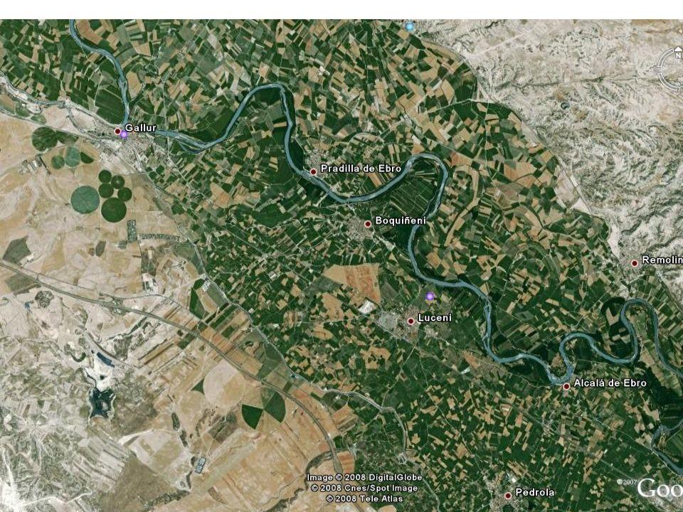 La Loteta: Imagen virtual del embalse lleno. Se llena con agua del Rio Aragón y abastece a Zaragoza