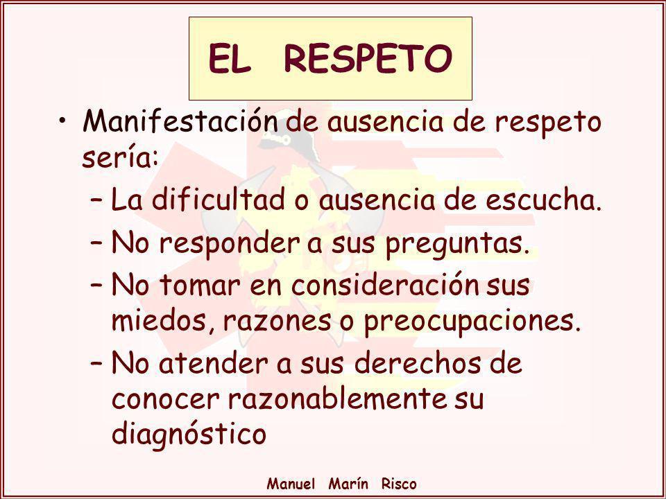 Manuel Marín Risco Manifestación de ausencia de respeto sería: –La dificultad o ausencia de escucha. –No responder a sus preguntas. –No tomar en consi