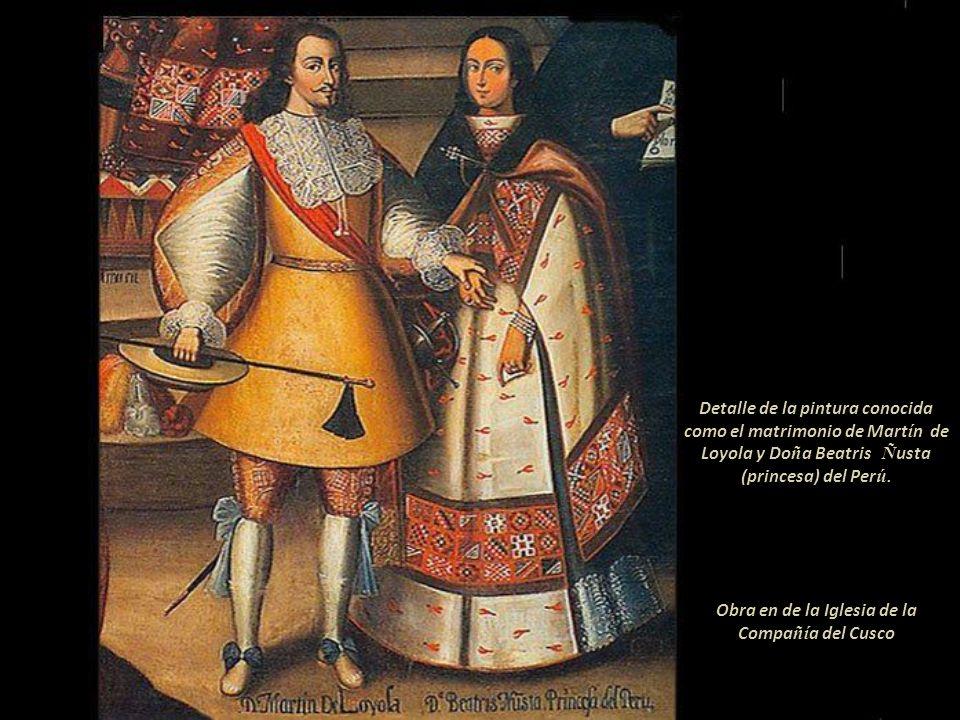 La pintura representa el matrimonio de Don Martín García Óñez de Loyola y la Princesa Inca Beatriz Clara, estos en primer plano; ligeramente retirados