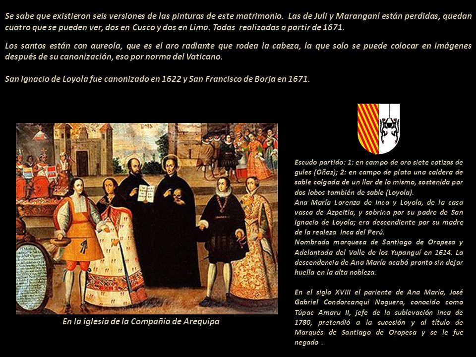 Detalle de la pintura conocida como el matrimonio de Mart í n de Loyola y Do ñ a Beatris Ñ usta (princesa) del Per ú. Obra en de la Iglesia de la Comp