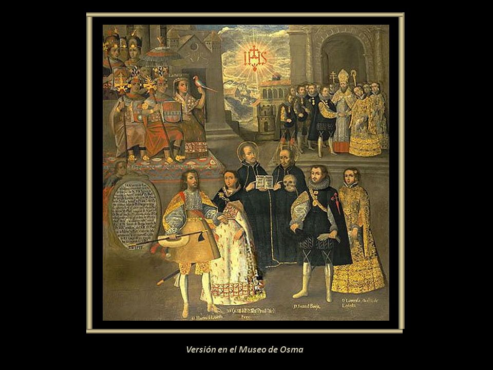 En el medallón se lee... y lo probenido deste Matrimonio q prebaleze en Europa e sus d Sendencias D. Martín de Loyola...con la Señora Dª Beatris Clara