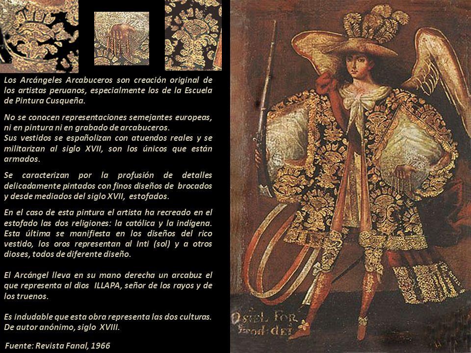 Arcángeles Arcabuceros siglo XVII, finamente vestidos con diseños de tela de damasco (brocado).