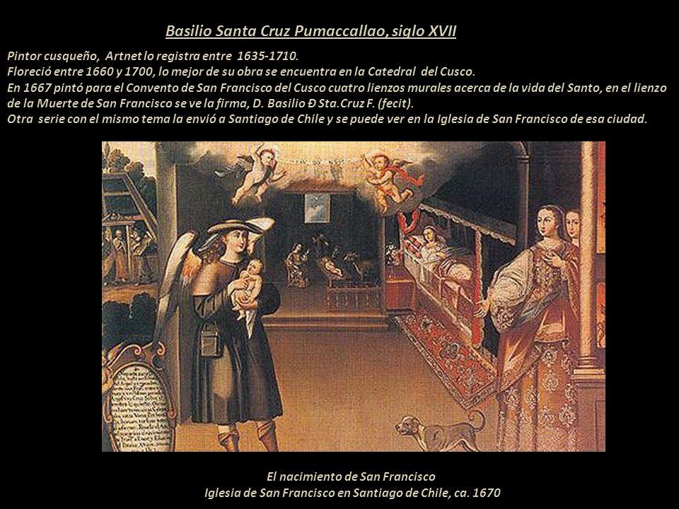 Detalle de la obra que se ve a la izquierda El Obispo Mollinedo lleva la Custodia Rara vez se pude conseguir una fotografía de una obra más o menos completa dada la prohibición que existe en los conventos, iglesias y museos del Perú.
