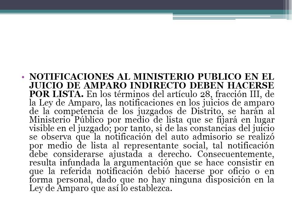 NOTIFICACIONES AL MINISTERIO PUBLICO EN EL JUICIO DE AMPARO INDIRECTO DEBEN HACERSE POR LISTA. En los términos del artículo 28, fracción III, de la Le