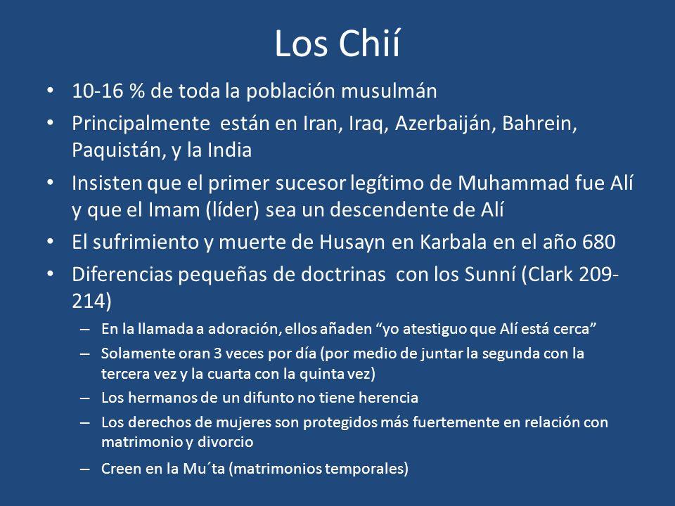 Los Chií 10-16 % de toda la población musulmán Principalmente están en Iran, Iraq, Azerbaiján, Bahrein, Paquistán, y la India Insisten que el primer s