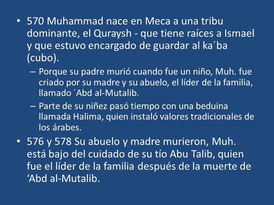 595 Muhammad se casa con Khadija, quien dio luz a su única descendiente-una hija llamada Fatima (había otros, pero murieron antes de la muerte de Muh.) 610 en una cueva afuera de la ciudad de Meca el ángel Gabriel apareció, lo llamó mensajero de Allá, y reveló (probablemente) Azora 96.