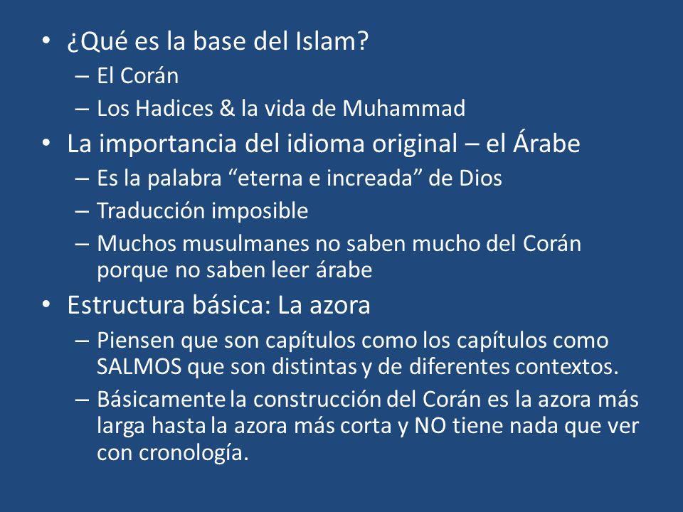 ¿Qué es la base del Islam? – El Corán – Los Hadices & la vida de Muhammad La importancia del idioma original – el Árabe – Es la palabra eterna e incre