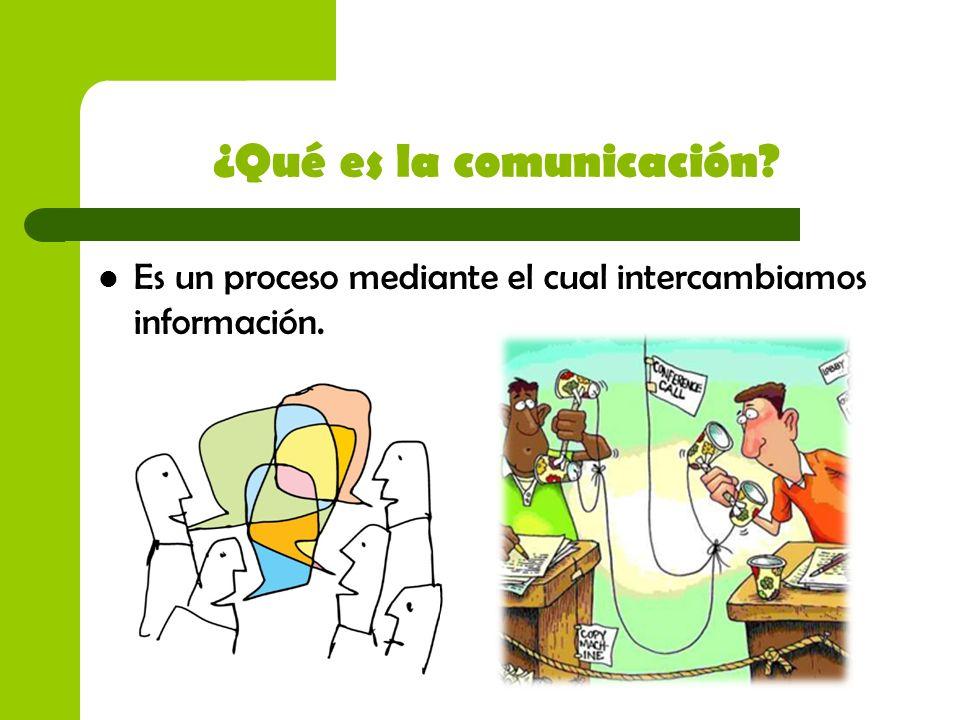 ¿Qué es la comunicación? Es un proceso mediante el cual intercambiamos información.