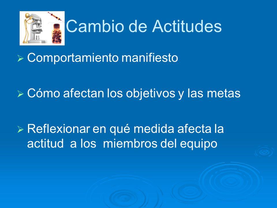 Comportamiento manifiesto Cómo afectan los objetivos y las metas Reflexionar en qué medida afecta la actitud a los miembros del equipo Cambio de Actit