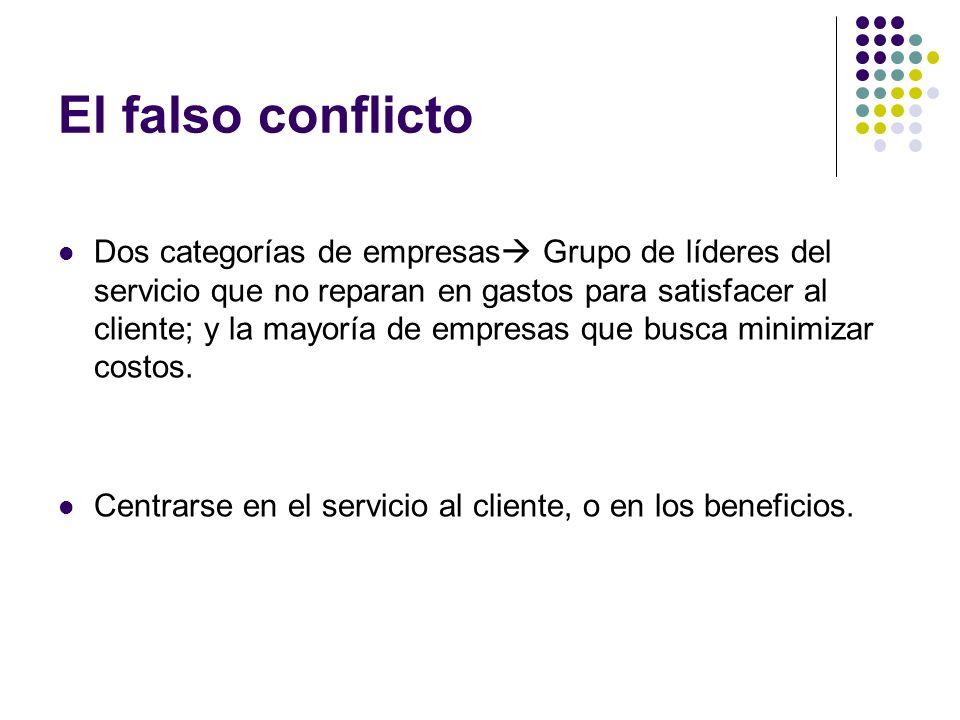 El falso conflicto Dos categorías de empresas Grupo de líderes del servicio que no reparan en gastos para satisfacer al cliente; y la mayoría de empre