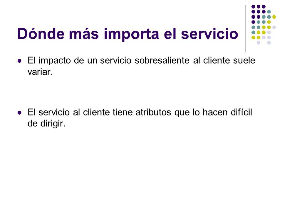 Dónde más importa el servicio El impacto de un servicio sobresaliente al cliente suele variar. El servicio al cliente tiene atributos que lo hacen dif