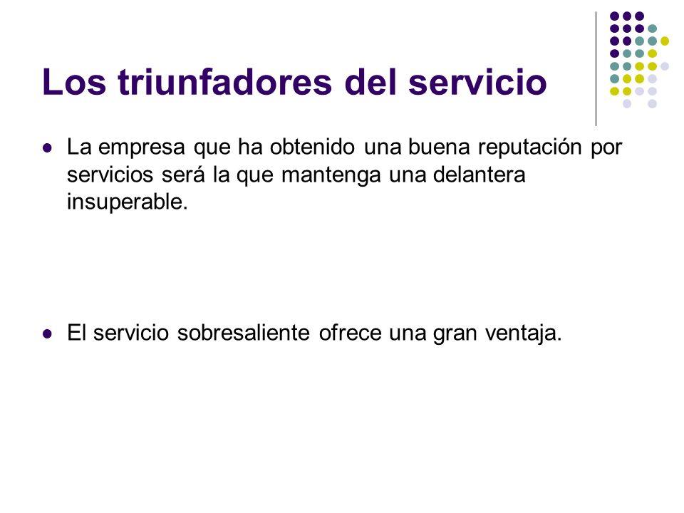 Los triunfadores del servicio La empresa que ha obtenido una buena reputación por servicios será la que mantenga una delantera insuperable. El servici