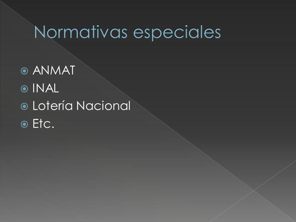 ANMAT INAL Lotería Nacional Etc.