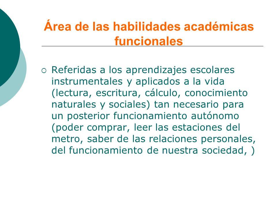 Área de las habilidades académicas funcionales Referidas a los aprendizajes escolares instrumentales y aplicados a la vida (lectura, escritura, cálcul
