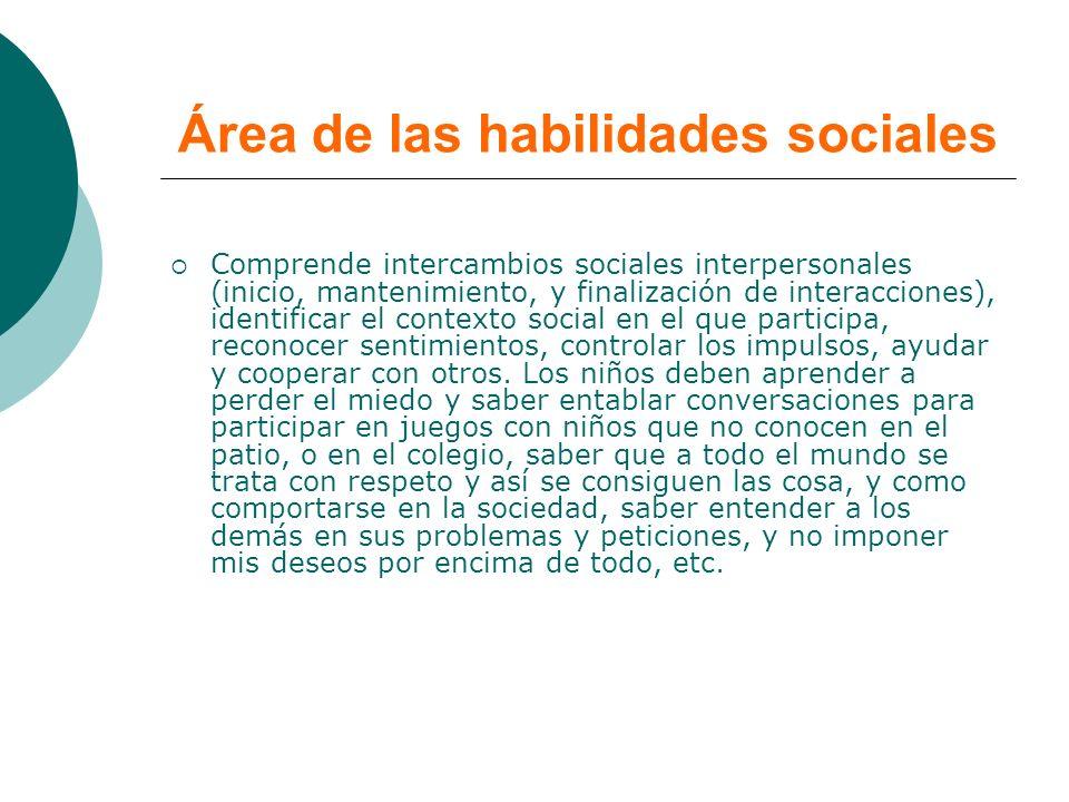 Área de las habilidades sociales Comprende intercambios sociales interpersonales (inicio, mantenimiento, y finalización de interacciones), identificar