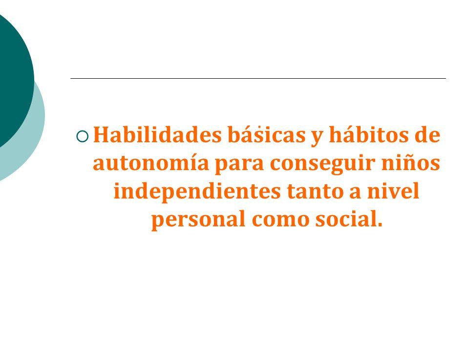 . Habilidades básicas y hábitos de autonomía para conseguir niños independientes tanto a nivel personal como social.