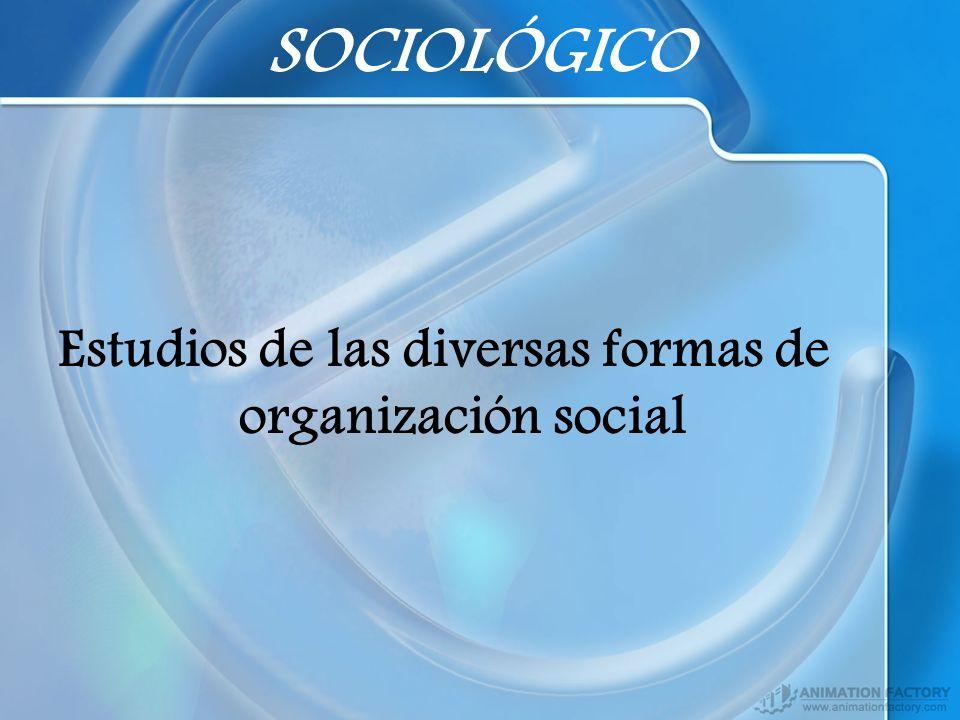 SOCIOLÓGICO Estudios de las diversas formas de organización social