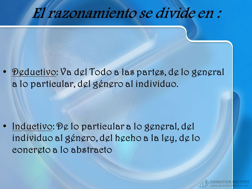 El razonamiento se divide en : DeductivoDeductivo: Va del Todo a las partes, de lo general a lo particular, del género al individuo. InductivoInductiv