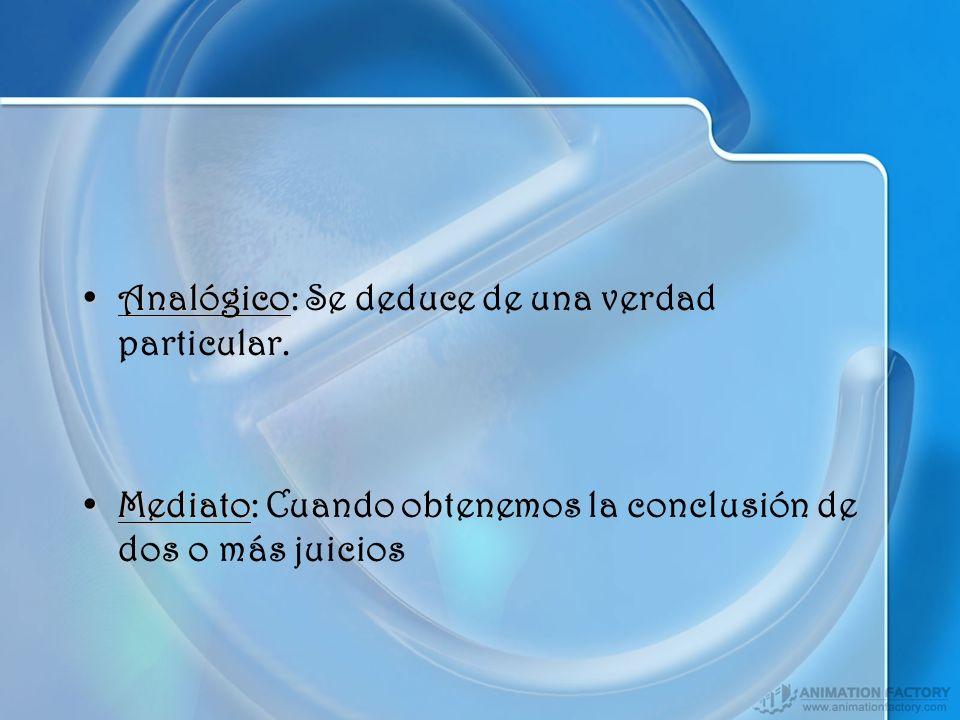 AnalógicoAnalógico: Se deduce de una verdad particular. MediatoMediato: Cuando obtenemos la conclusión de dos o más juicios