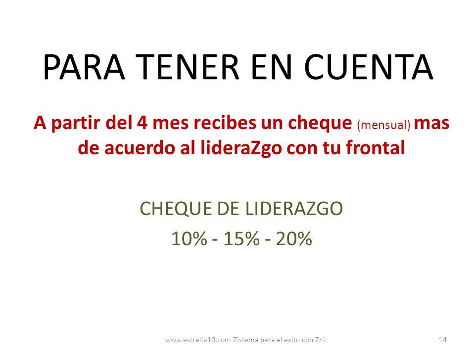 PARA TENER EN CUENTA A partir del 4 mes recibes un cheque (mensual) mas de acuerdo al lideraZgo con tu frontal CHEQUE DE LIDERAZGO 10% - 15% - 20% 14w
