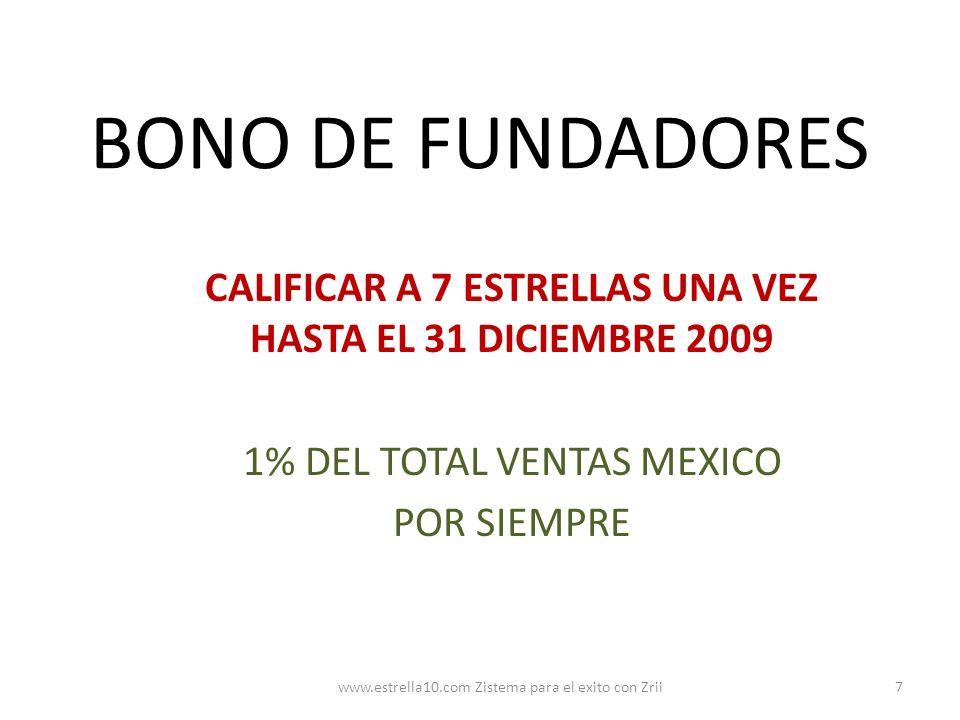 BONO DE FUNDADORES CALIFICAR A 7 ESTRELLAS UNA VEZ HASTA EL 31 DICIEMBRE 2009 1% DEL TOTAL VENTAS MEXICO POR SIEMPRE 7www.estrella10.com Zistema para