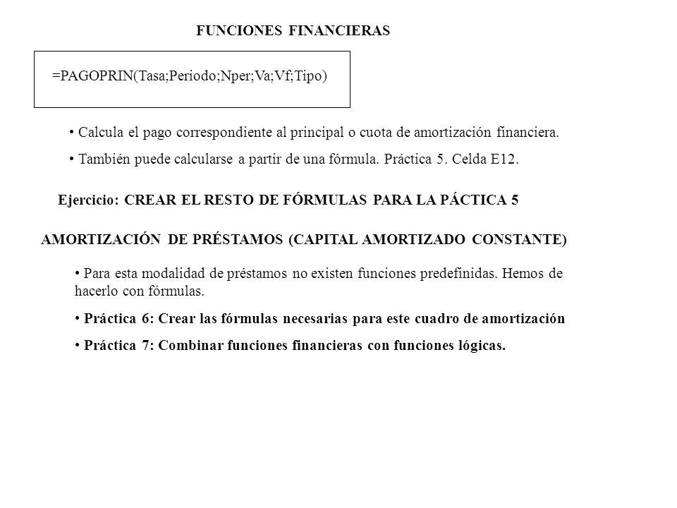 FUNCIONES FINANCIERAS =PAGOPRIN(Tasa;Periodo;Nper;Va;Vf;Tipo) Calcula el pago correspondiente al principal o cuota de amortización financiera. También