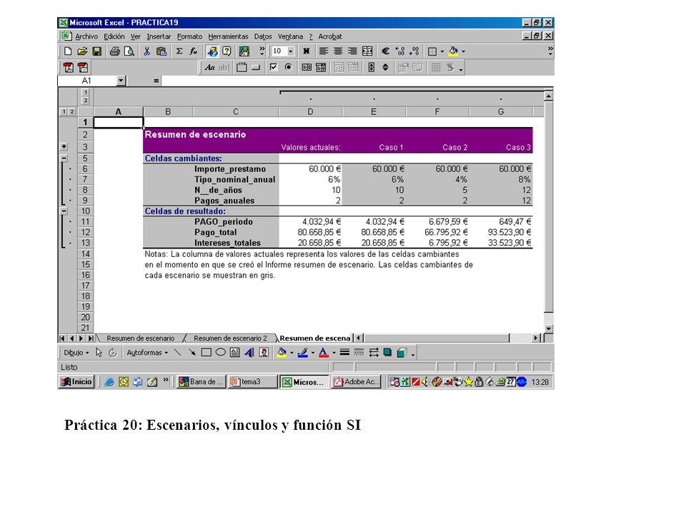 Práctica 20: Escenarios, vínculos y función SI