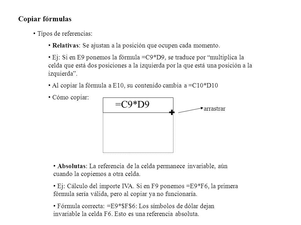 Copiar fórmulas Tipos de referencias: Relativas: Se ajustan a la posición que ocupen cada momento. Ej: Si en E9 ponemos la fórmula =C9*D9, se traduce