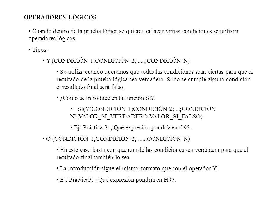 OPERADORES LÓGICOS Cuando dentro de la prueba lógica se quieren enlazar varias condiciones se utilizan operadores lógicos. Tipos: Y (CONDICIÓN 1;CONDI
