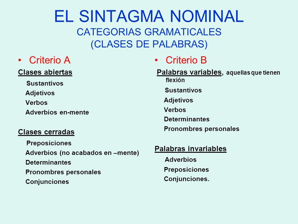 EL SINTAGMA NOMINAL CATEGORIAS GRAMATICALES (CLASES DE PALABRAS) Criterio A Clases abiertas Sustantivos Adjetivos Verbos Adverbios en-mente Clases cer