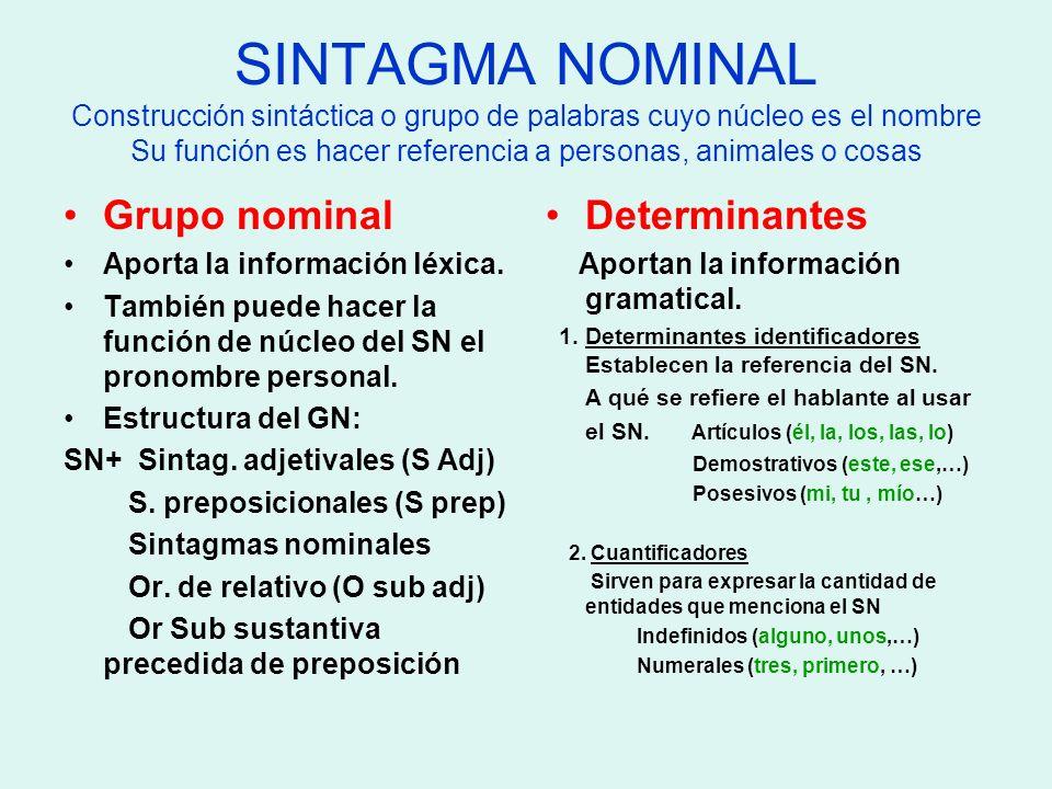 SINTAGMA NOMINAL Ejemplos Un perro grande Determinante Grupo nominal: N + Adj Los padres de Juan Determinante Grupo nominal: N + S prep (CN) Aquella calle que estaba desierta Determinante G.