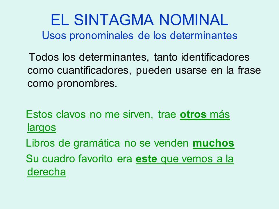 EL SINTAGMA NOMINAL Usos pronominales de los determinantes Todos los determinantes, tanto identificadores como cuantificadores, pueden usarse en la fr