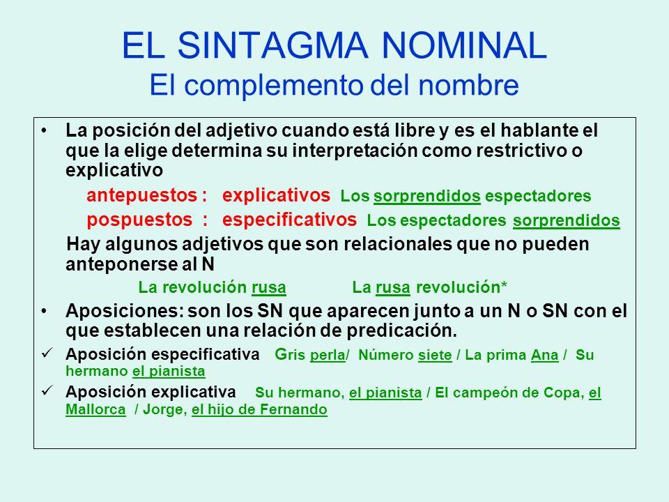 EL SINTAGMA NOMINAL El complemento del nombre La posición del adjetivo cuando está libre y es el hablante el que la elige determina su interpretación