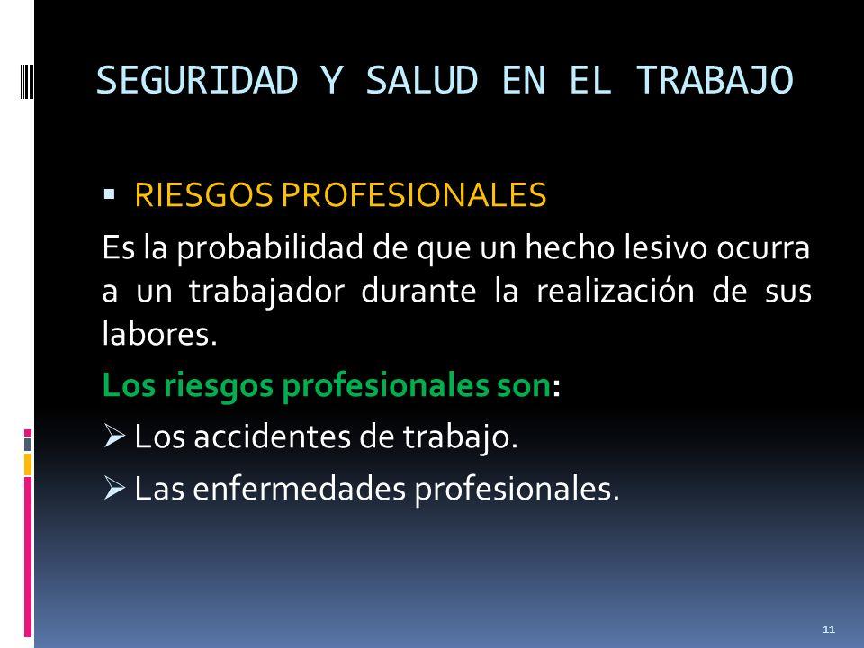 SEGURIDAD Y SALUD EN EL TRABAJO RIESGOS PROFESIONALES Es la probabilidad de que un hecho lesivo ocurra a un trabajador durante la realización de sus l