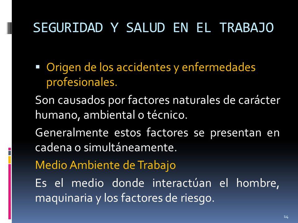 SEGURIDAD Y SALUD EN EL TRABAJO Origen de los accidentes y enfermedades profesionales. Son causados por factores naturales de carácter humano, ambient