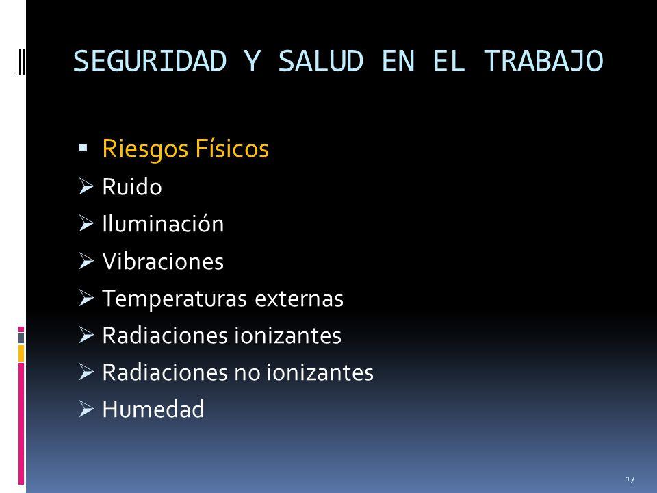 SEGURIDAD Y SALUD EN EL TRABAJO Riesgos Físicos Ruido Iluminación Vibraciones Temperaturas externas Radiaciones ionizantes Radiaciones no ionizantes H