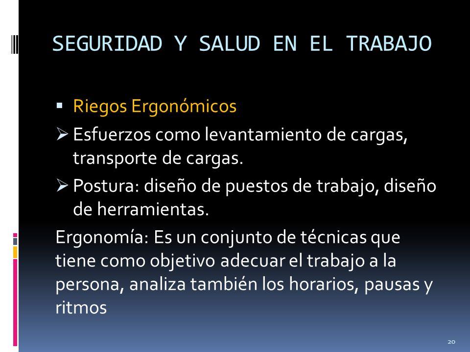 SEGURIDAD Y SALUD EN EL TRABAJO Riegos Ergonómicos Esfuerzos como levantamiento de cargas, transporte de cargas. Postura: diseño de puestos de trabajo