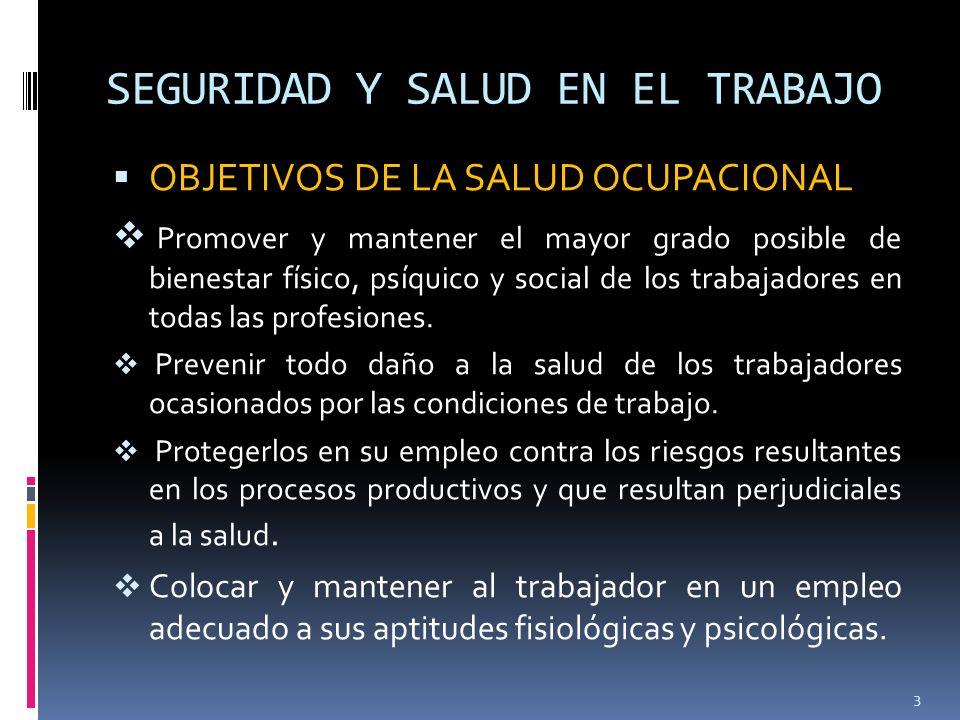SEGURIDAD Y SALUD EN EL TRABAJO Origen de los accidentes y enfermedades profesionales.