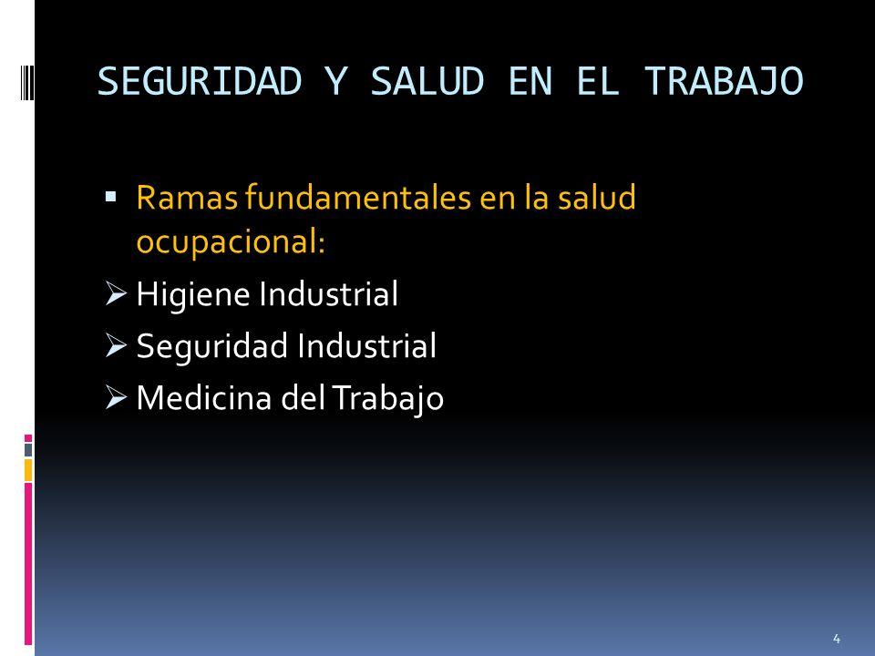 SEGURIDAD Y SALUD EN EL TRABAJO Ramas fundamentales en la salud ocupacional: Higiene Industrial Seguridad Industrial Medicina del Trabajo 4