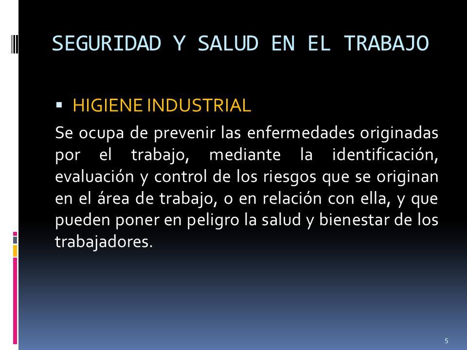 SEGURIDAD Y SALUD EN EL TRABAJO Actividades de la Higiene Industrial Identificación de los posibles peligros en el medio ambiente laboral.