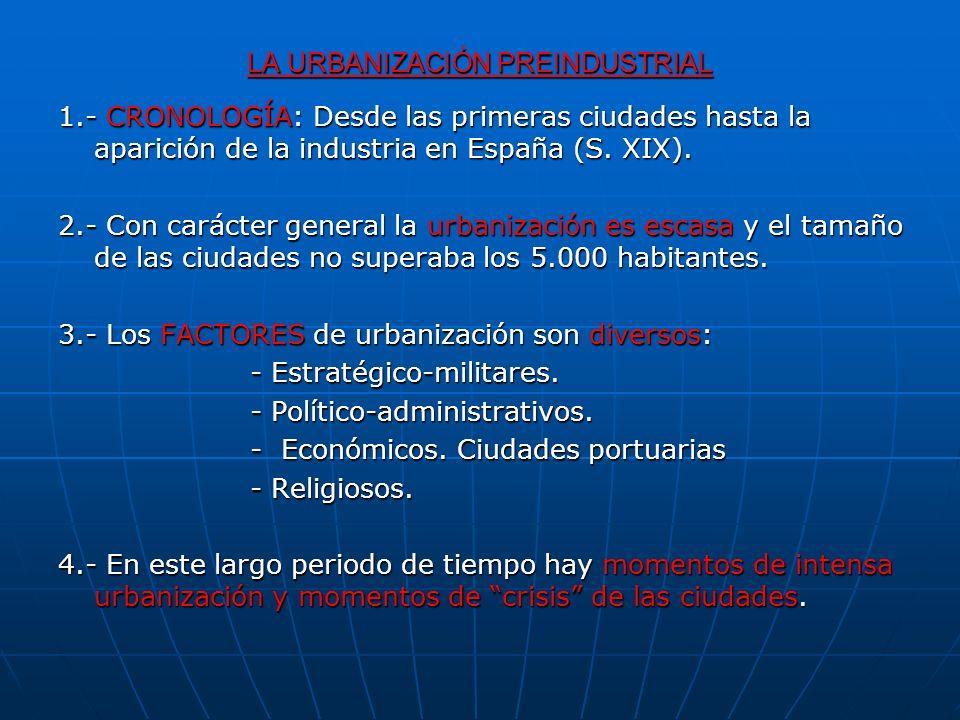 LA URBANIZACIÓN PREINDUSTRIAL 1.- CRONOLOGÍA: Desde las primeras ciudades hasta la aparición de la industria en España (S. XIX). 2.- Con carácter gene
