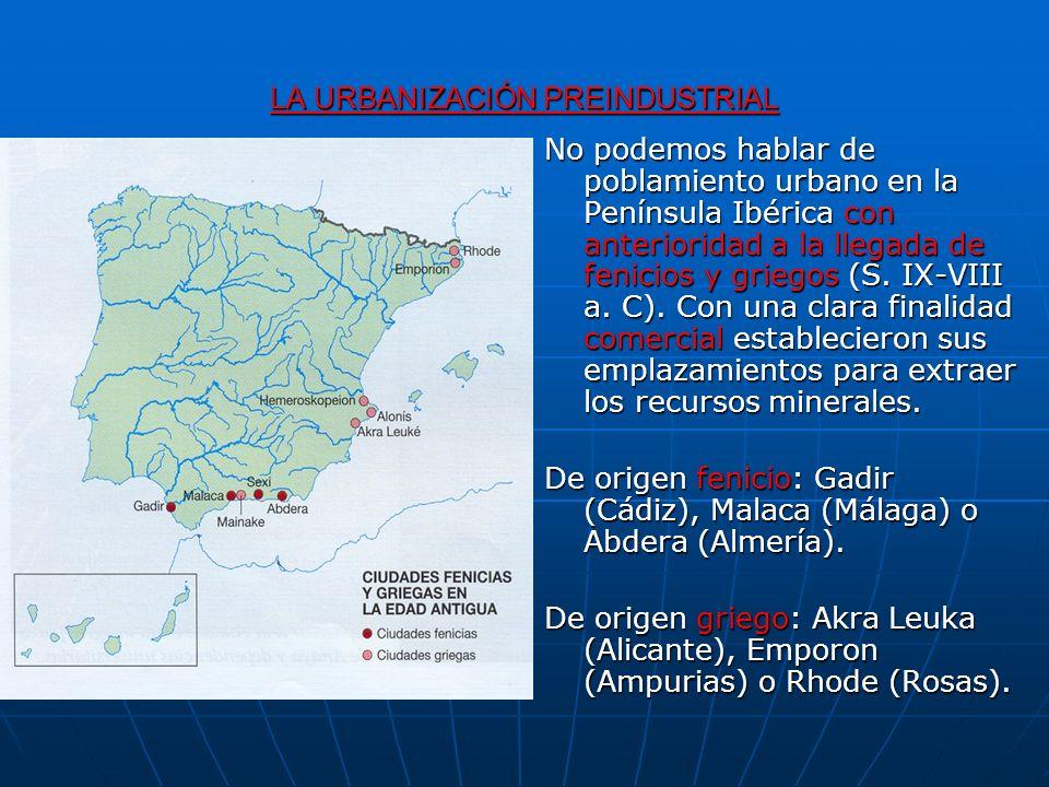 LA URBANIZACIÓN PREINDUSTRIAL No podemos hablar de poblamiento urbano en la Península Ibérica con anterioridad a la llegada de fenicios y griegos (S.