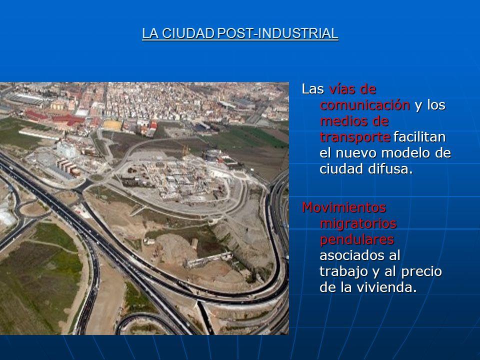 LA CIUDAD POST-INDUSTRIAL Las vías de comunicación y los medios de transporte facilitan el nuevo modelo de ciudad difusa. Movimientos migratorios pend