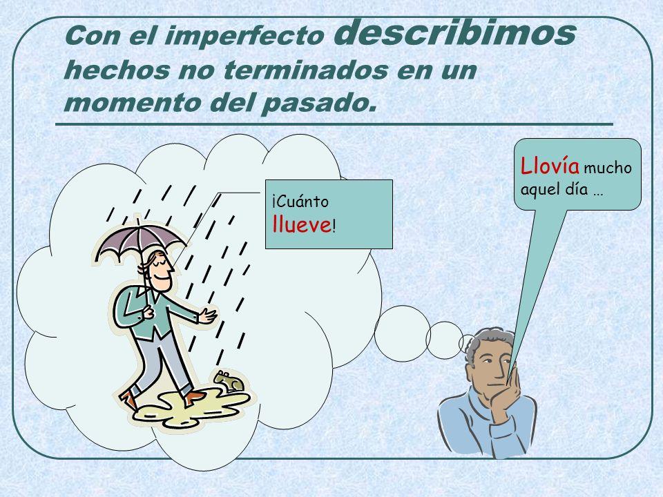 Con el imperfecto describimos hechos no terminados en un momento del pasado. ¡Cuánto llueve ! Llovía mucho aquel día …