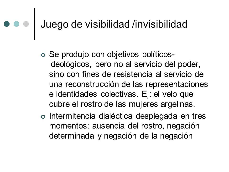 Juego de visibilidad /invisibilidad Se produjo con objetivos políticos- ideológicos, pero no al servicio del poder, sino con fines de resistencia al s