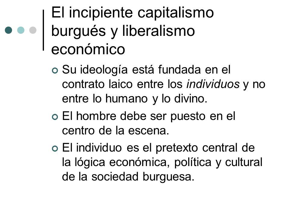 El incipiente capitalismo burgués y liberalismo económico Su ideología está fundada en el contrato laico entre los individuos y no entre lo humano y l
