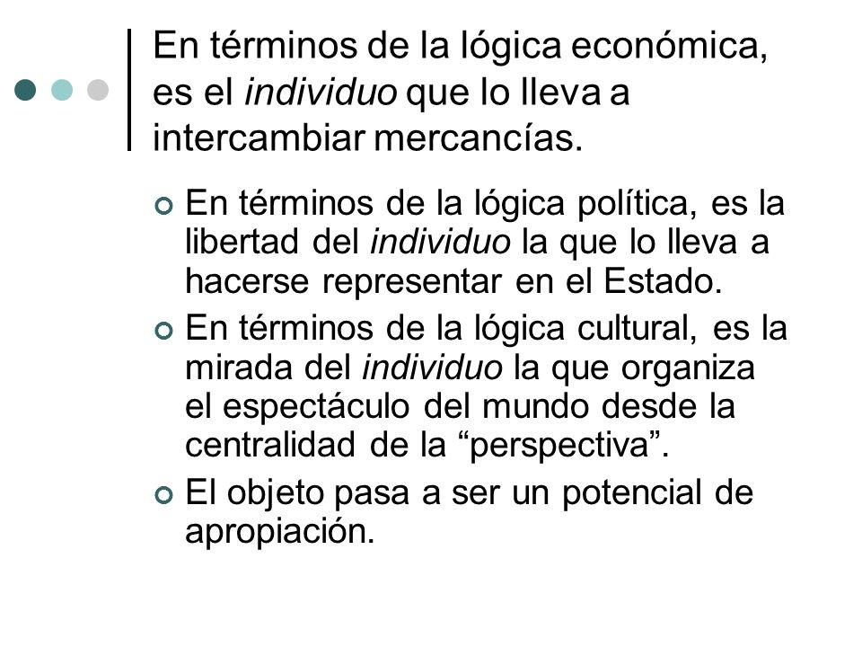 En términos de la lógica económica, es el individuo que lo lleva a intercambiar mercancías. En términos de la lógica política, es la libertad del indi