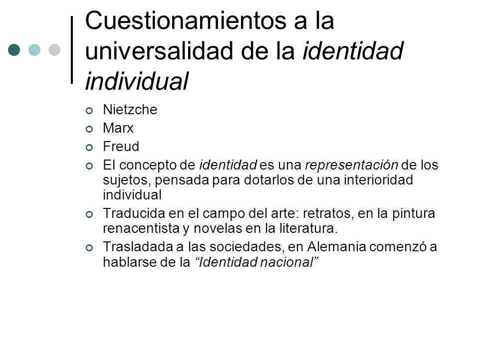 Cuestionamientos a la universalidad de la identidad individual Nietzche Marx Freud El concepto de identidad es una representación de los sujetos, pens