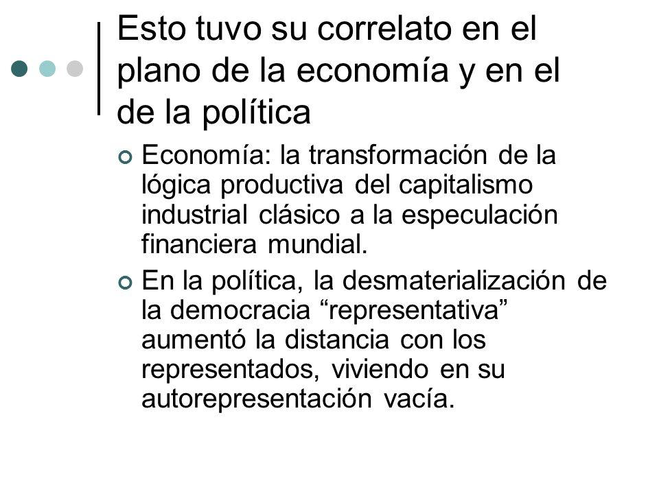 Esto tuvo su correlato en el plano de la economía y en el de la política Economía: la transformación de la lógica productiva del capitalismo industria