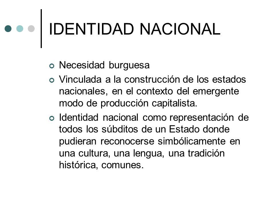 IDENTIDAD NACIONAL Necesidad burguesa Vinculada a la construcción de los estados nacionales, en el contexto del emergente modo de producción capitalis